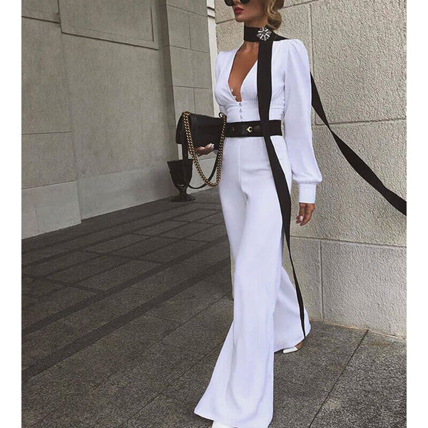 High Waist Wide Leg V Neck Long Sleeve Jumpsuit