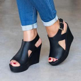 Platform Wedge Leather Low Heeled Sandals