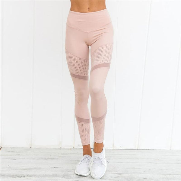 Mesh Patchwork Women Mid Waist Elastic Yoga Sports Legging Pants