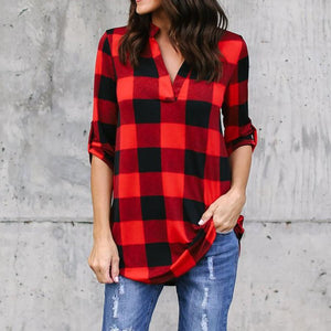 V-neck Plaid Loose Long Sleeves Long Blouse
