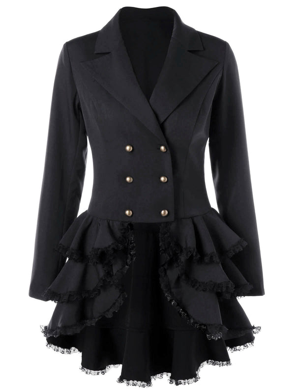 Lapel Double Breast Women Irregular Ruffles Hemline Short Coat
