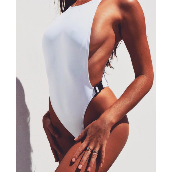 Backless Hasp Pure Color Hollow Out One Piece Swimwear