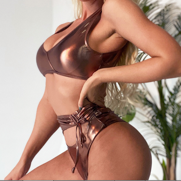 Metallic Cutout High Rise Thong Bottom Bikinis
