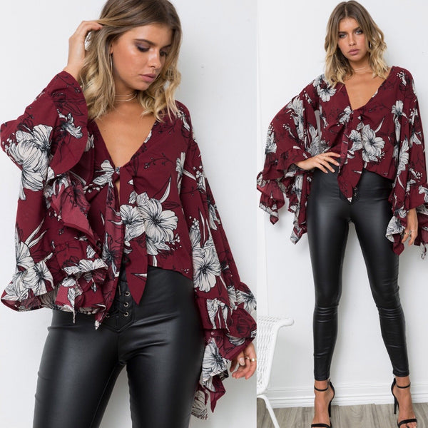 Big Ruffle V-neck Loose Flower Print Long Trumpt Sleeves Blouse
