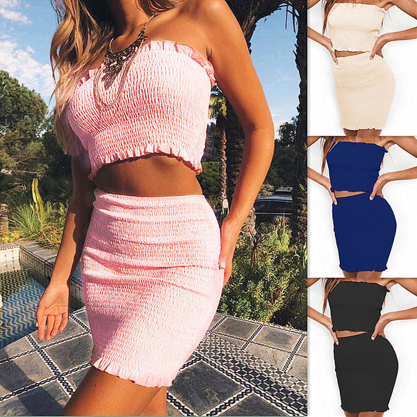 Candy Color Strapless Crop Top with High Waist Bodycon Short Skirt Women Two Pieces Dress Set