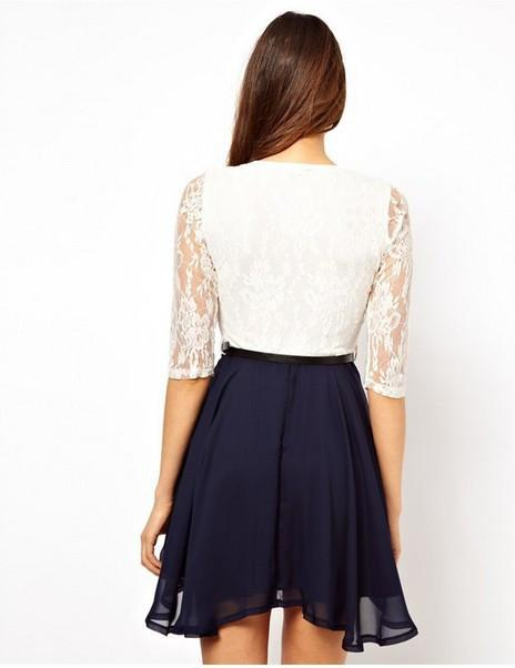 Lace Splicing Short Chiffon With Belt Dress - Shoes-Party - 5