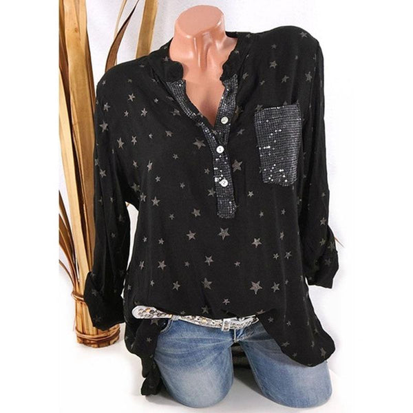 Stars Print V-neck Loose Blouse with Plus Size