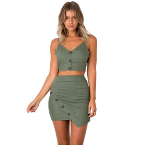 Spaghetti Straps Crop Top with High Waist Irregular Short Skirt Women Two Pieces Set