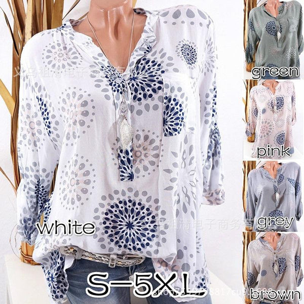 V-neck Print Long Sleeves Loose Blouse with Plus Size