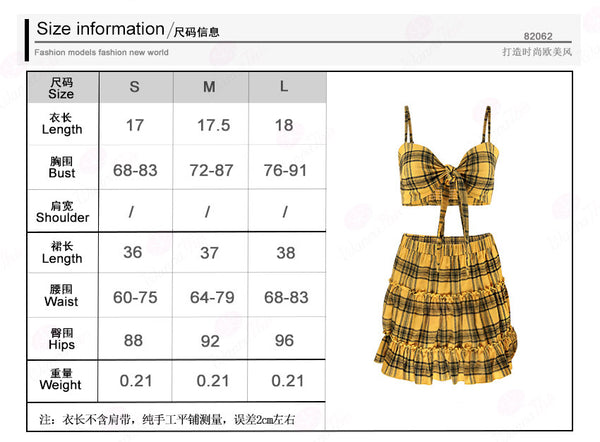 Spaghetti Straps Plaid Crop Top with Pleated High Waist Short Skirt Women Two Pieces Dress Set