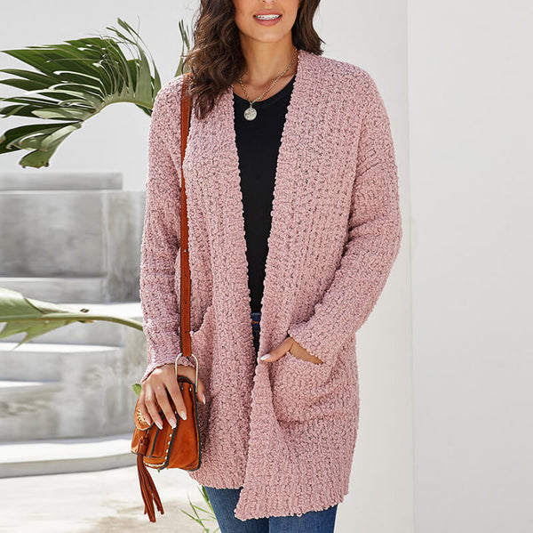 Popcorn Long Cardigan Knit Sweater Coat