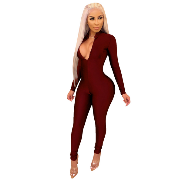 Long Sleeves Bodycon Skinny Jumpsuit