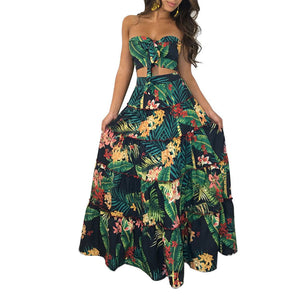 Print Strapless Crop Top with High Waist Long Skirt Women Two Pieces Dress Set