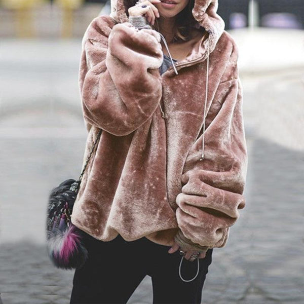 Gray, Pink, Burgundy, Beige, Light Brown Women Loose Hooded Teddy Coat