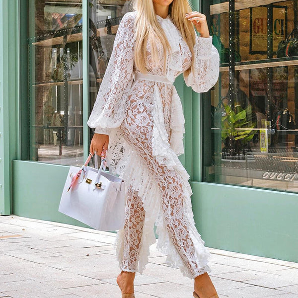 Lace See Through Ruffles White Jumpsuit
