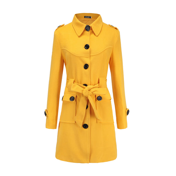 Stand Collar Buttons Pockets Solid Color Women Oversized Coat with Belt
