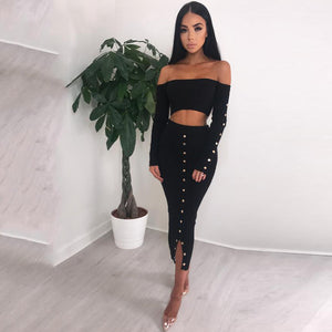 Off the Shoulder Crop Top with High Waist Tea-length Split Skirt Women Two Pieces Set