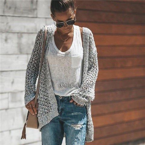 Hollow Out Knitwear Women Long Loose Cardigan Sweater
