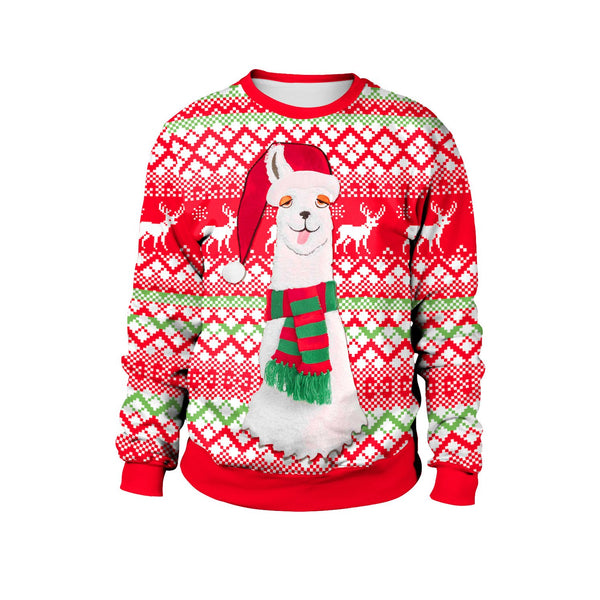 Alpaca Reindeer Print Women Scoop Drawstring Christmas Party Hoodie