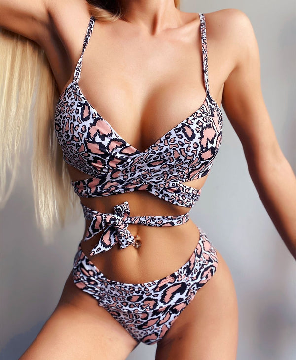 Hot Leopard Strappy Mid Rise Thong Bottom Bikinis