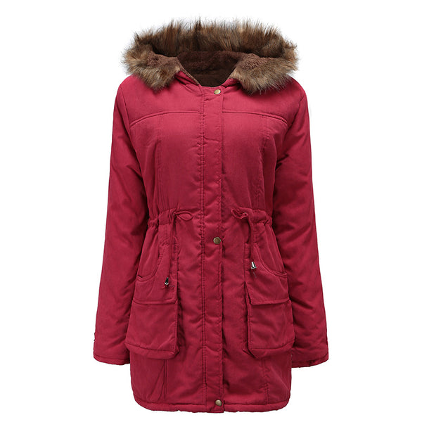Solid Color Draw String Pockets Women Oversized Coat