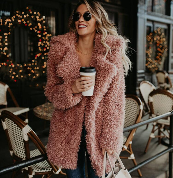 Lapel Faux Fur Women Loose Oversized Solid Color Teddy Coat