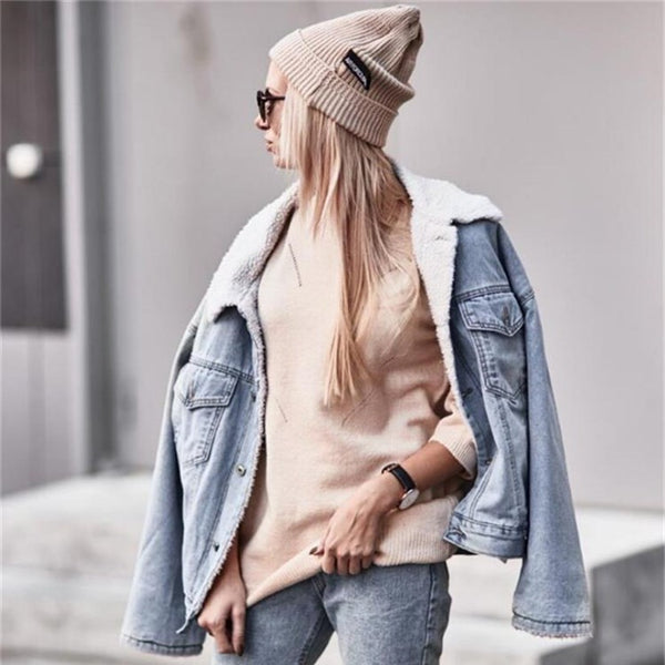 Retro Lapel Faux Fur Women Loose Denim Coat
