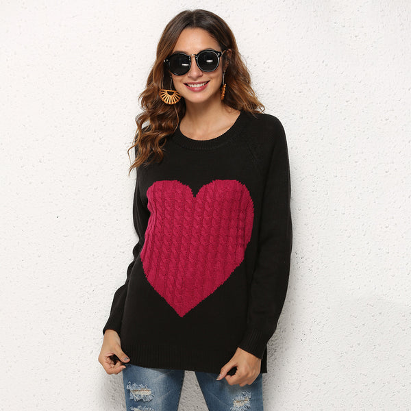 Heart Patchwork Scoop Women Slim Pullover Sweater