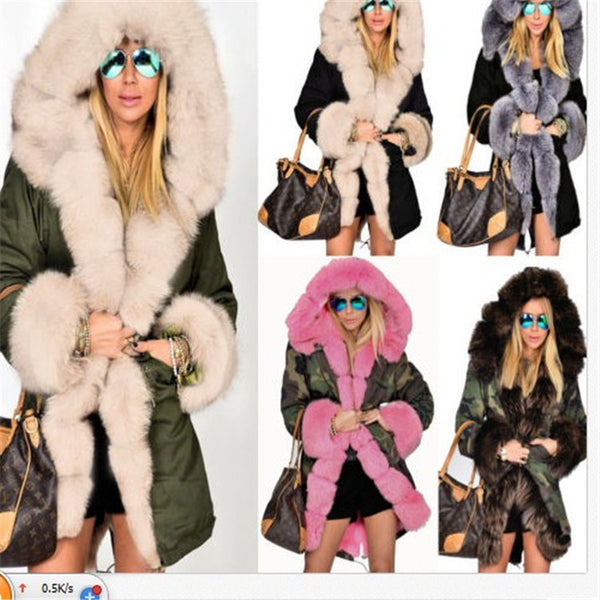 Faux Fur Decoration Women Hooded Oversized Long Punk Coat