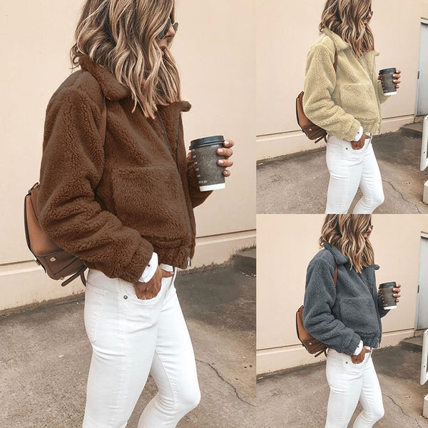 Solid Color Lapel Zipper Big Pockets Women Short Teddy Coat