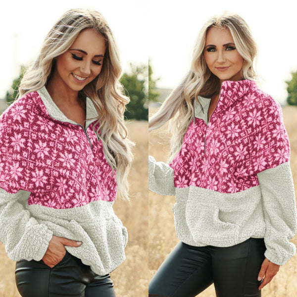 Snow Print Patchwork Fluffy High Neck Women Loose Hoodie