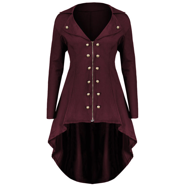 V-neck Lapel Double Breast Women Irregular Swing Coat