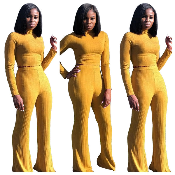 Solid Color Cropped Sweater with High Waist Long Flares Pants Women Two Pieces Set