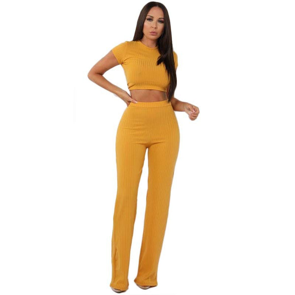 Short Sleeves Cropped T-shirt with Long Wide-leg Pants Women Two Pieces Set
