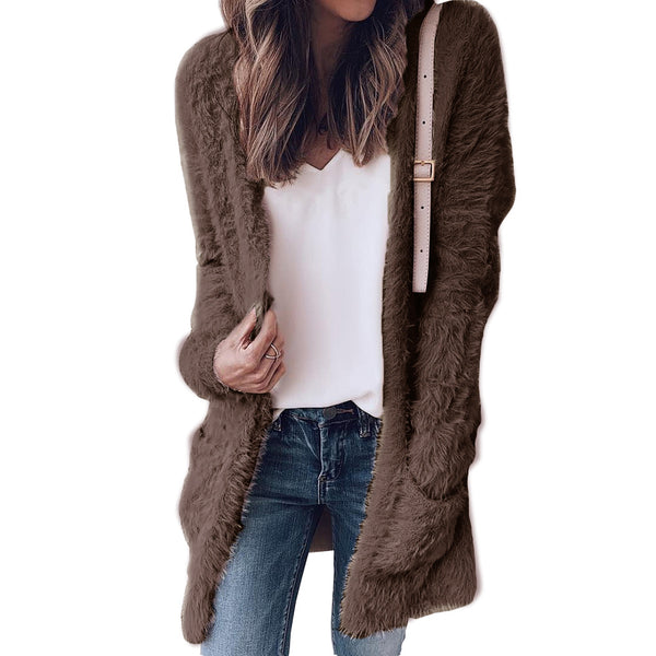 Teddy Solid Colors Two Pockets Women Boyfriend Style Oversized Cardigan Coat