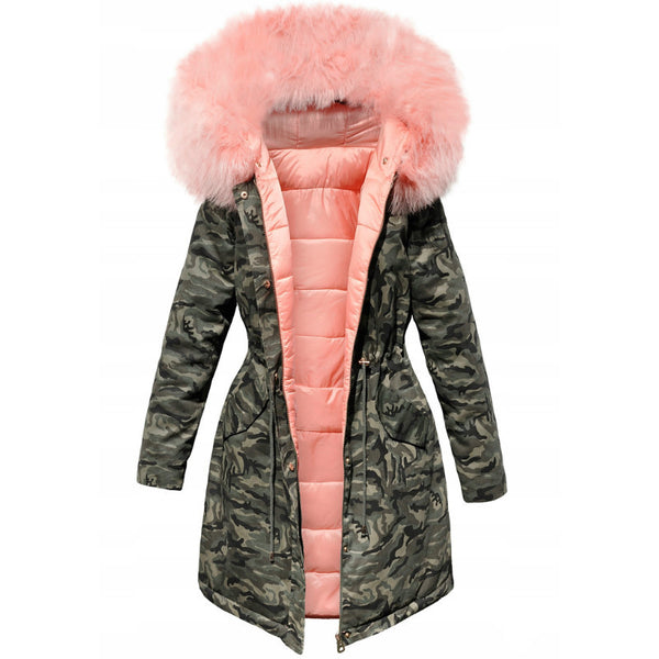 Big Faux Fur Collar Camouflage Women Slim Oversized Long Down Coat