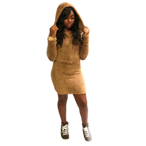 Solid Color Zipper Hooded Cropped Teddy Coat with Short Skirt Two Pieces Set