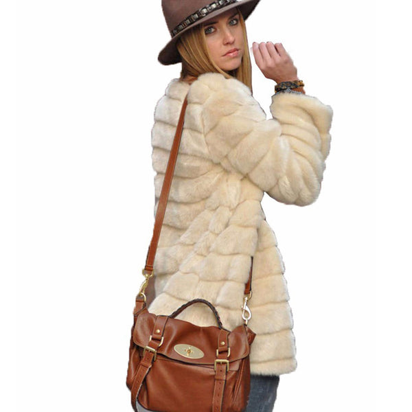 Faux Fur Stripe Solid Color Women Loose Cocoon Coat