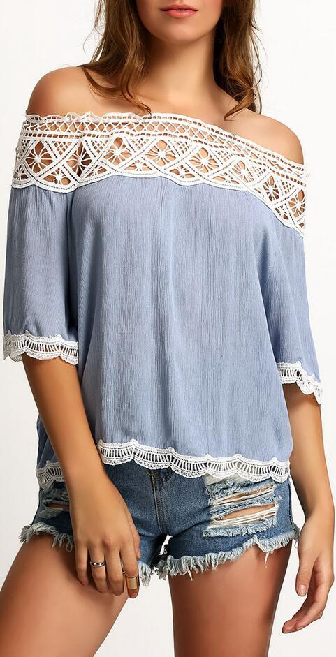 Off-Shoulder 1/2 Sleeve Lace Patchwork Chiffon Loose Blouse