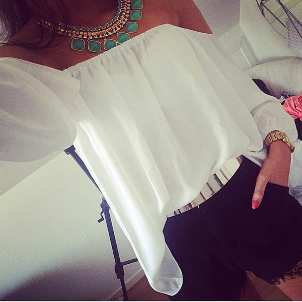 Off Shoulder Loose Long Sleeves Chiffon Blouse Top - Shoes-Party - 1