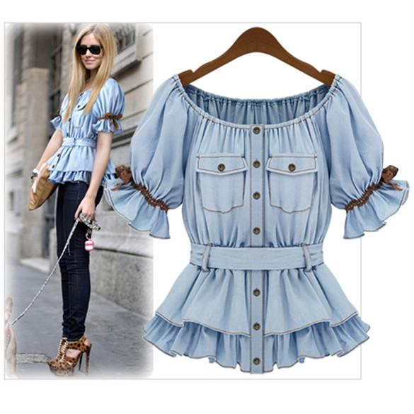 Faux Denim Women Butterfly Blouse Sashes Tops - Shoes-Party - 2