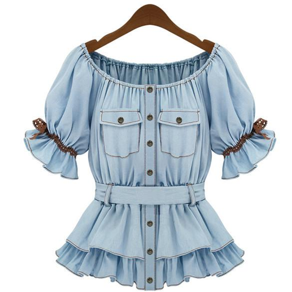 Faux Denim Women Butterfly Blouse Sashes Tops - Shoes-Party - 1