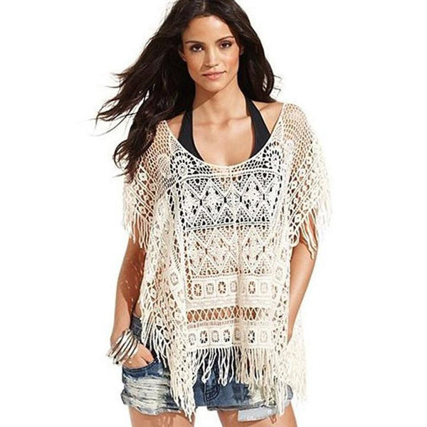 Hollow Out Crochet Knit Loose Tassels Top Blouse - Shoes-Party - 1