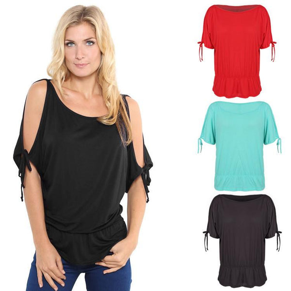 Off Shoulder Solid O-Neck Tunic Blouse Tops - Shoes-Party - 1