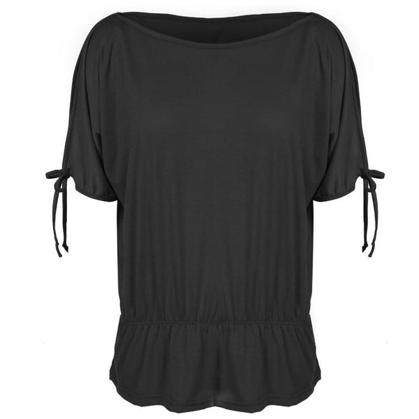 Off Shoulder Solid O-Neck Tunic Blouse Tops - Shoes-Party - 2