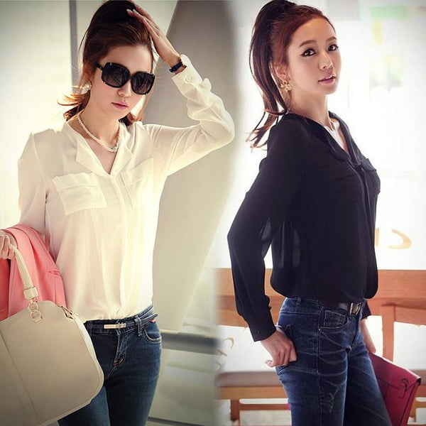 Chiffon Long Sleeve Shirt Tops Blouse - Shoes-Party - 2
