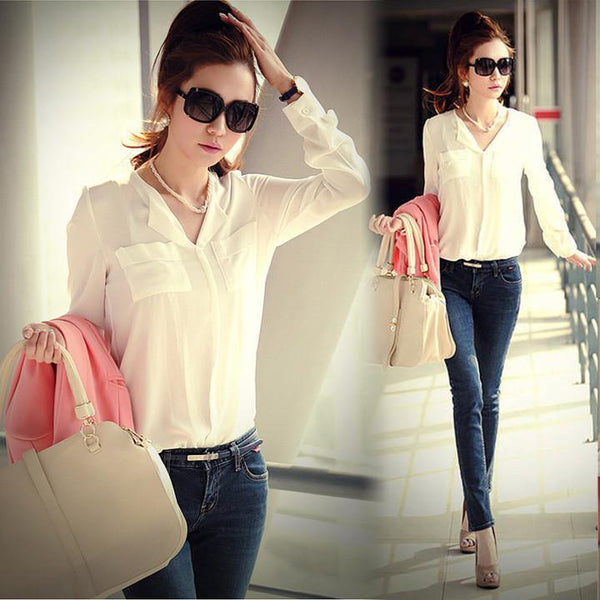 Chiffon Long Sleeve Shirt Tops Blouse - Shoes-Party - 1