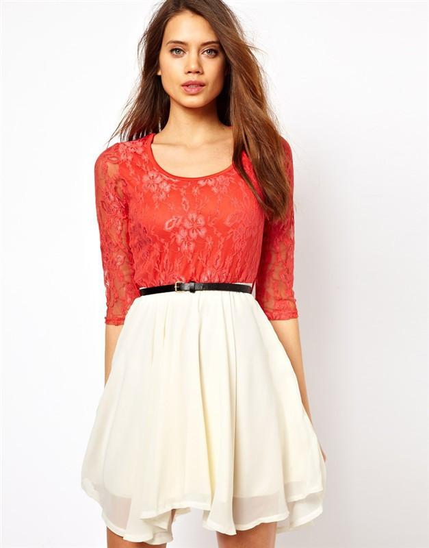 Lace Splicing Short Chiffon With Belt Dress - Shoes-Party - 4
