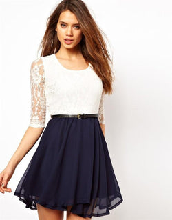 Lace Splicing Short Chiffon With Belt Dress - Shoes-Party - 2