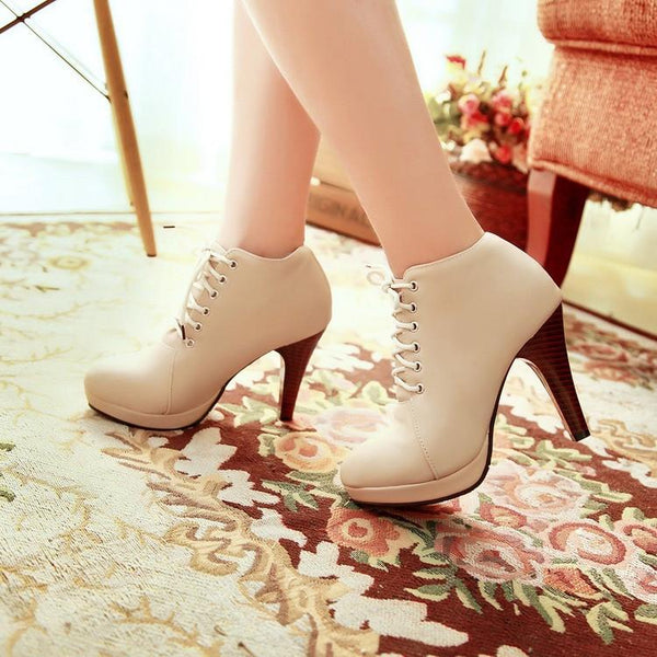 Round Toe Stiletto High Heel Lace Up Ankle Boots - MeetYoursFashion - 12